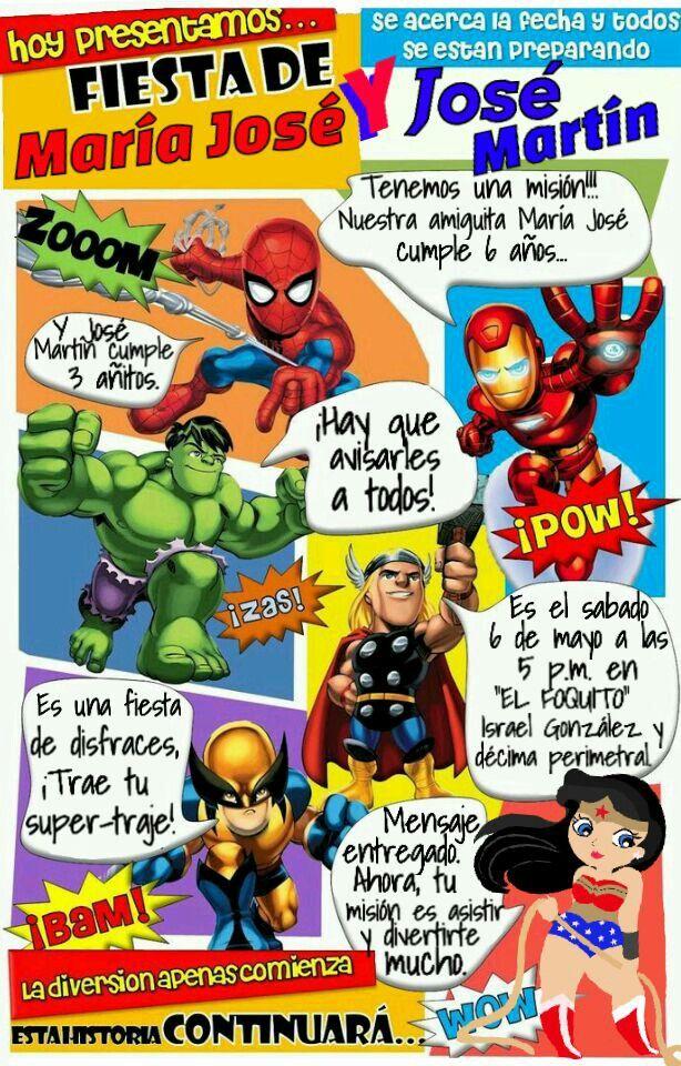 Invitacion Fiesta De Super Heroes Invitaciones Superheroes