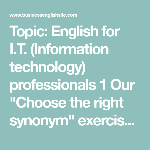 synonym technology english right professionals