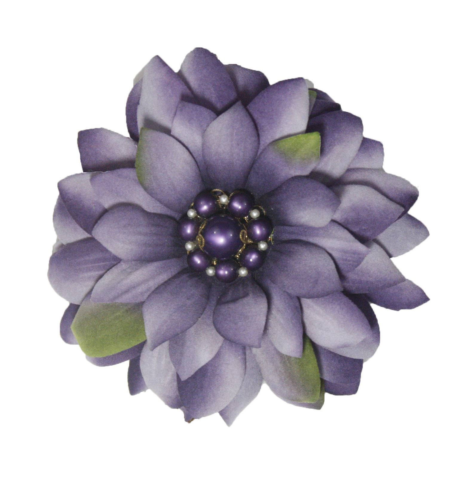 Lavender Silk Flower Pin With Vintage Brooch Center Has A Clip Too