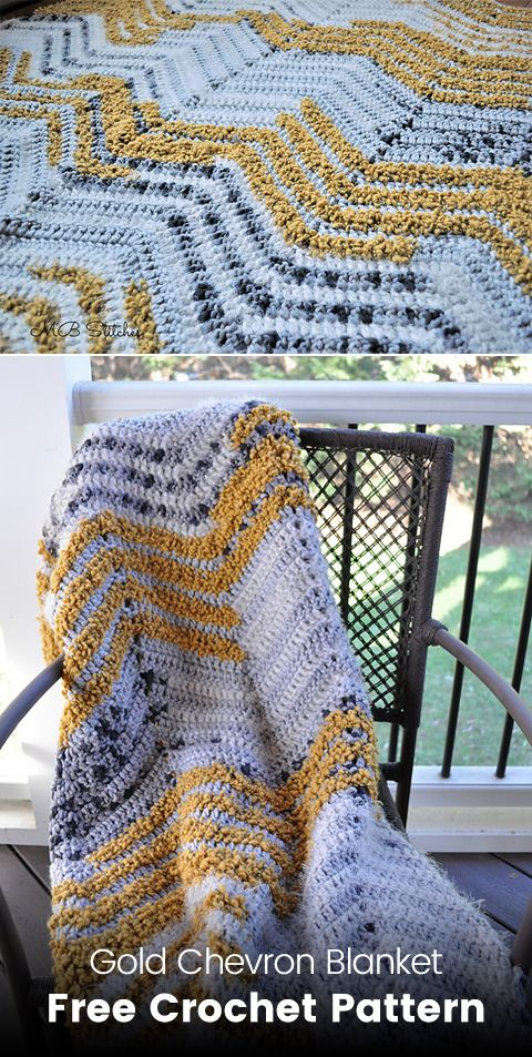 Gold Chevron Blanket Free Crochet Pattern #crochet #crafts #yarn ...