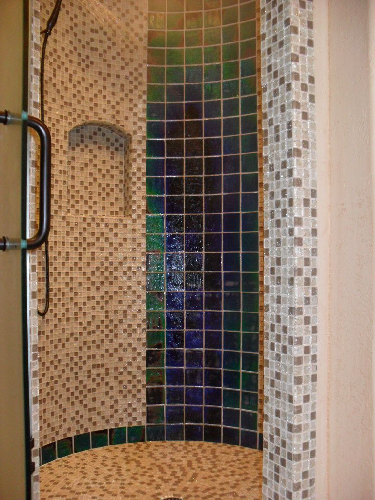 Change color of bathroom tile - This Shower Features Moving Color Northern Lights Glass Tiles As You Shower The Tiles Change Color From The Hot Water And