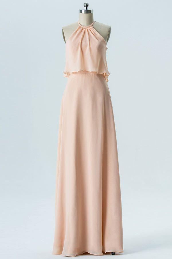 666818085db Robe corail pastel longue encolure halter plissée à volant pour soirée  mariage