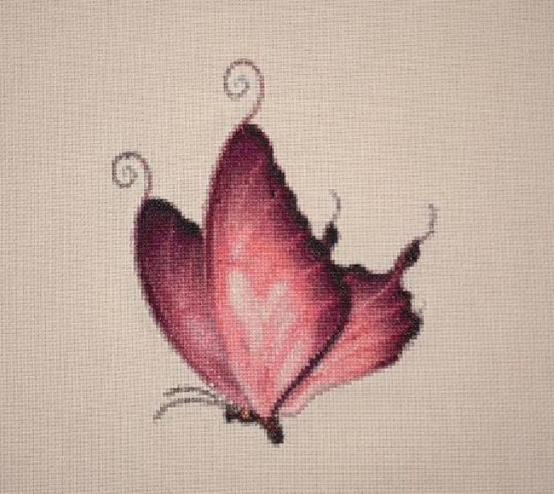 Pink Swallowtail Butterfly counted cross stitch pattern | Etsy
