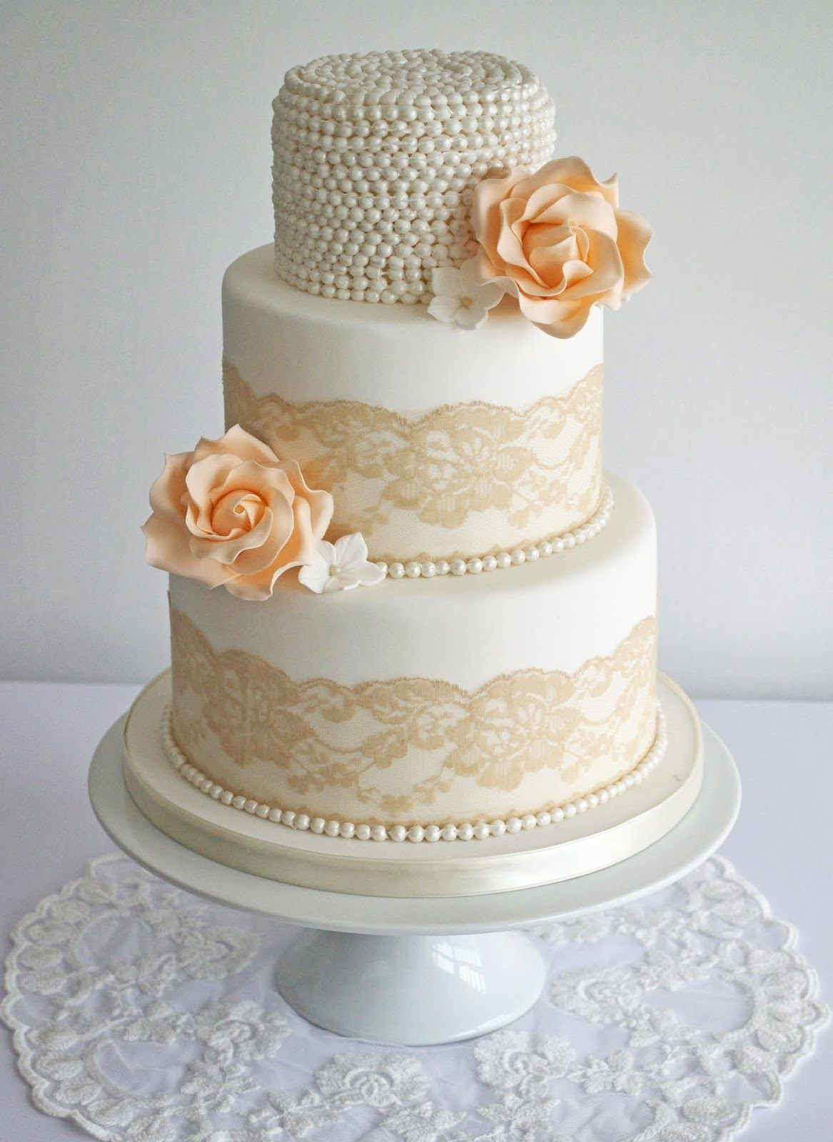 wedding cakes northern new jersey%0A Peach lace and pearls wedding cake