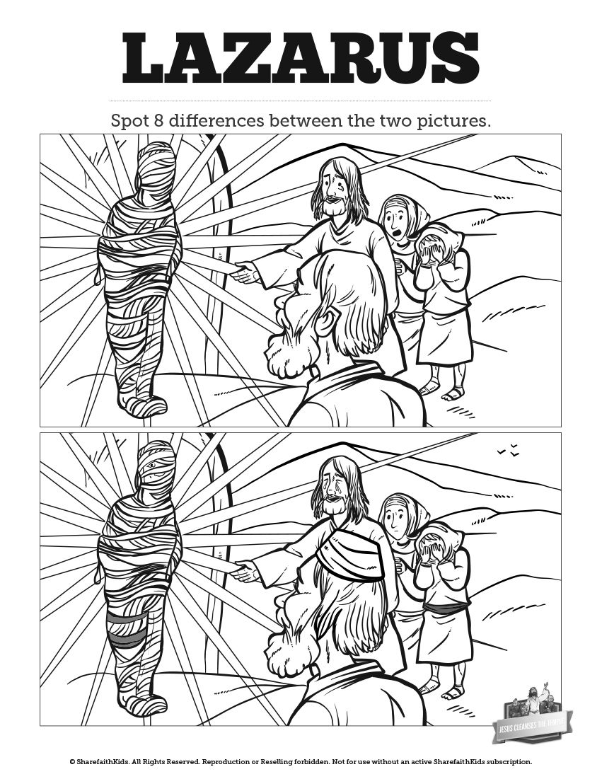 John 11 Lazarus Kids Spot The Difference Can Your Kids Spot All The Differences Between These Tw Sunday School Lessons Sunday School Activities School Lessons