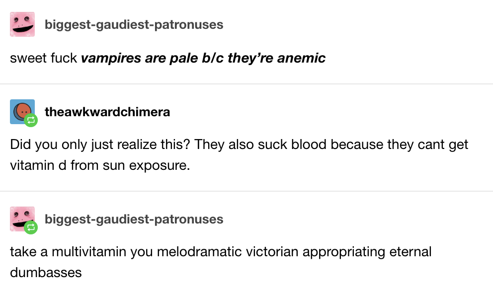 This string of words that would make a vampire cry, if they existed: