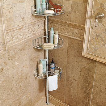 Tension Mount Shower Butler Gold Frontgate By Frontgate 199 00 A Third Basket Has A Bar For Hanging Washcloths And 2 Razor Holders A Second Basket Is Op Con Immagini