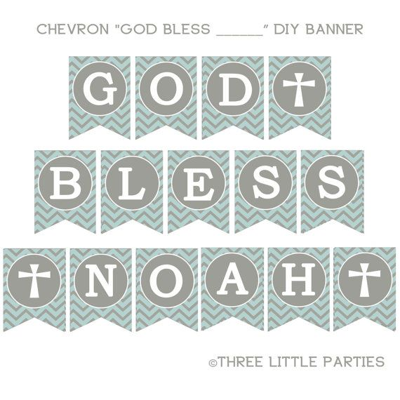 Printable Baptism Banner Chevron Banner Blue And Gray Or Pink And Gray Banner Personalized Diy In 2021 Baptism Banner Chevron Banner Christening Banner