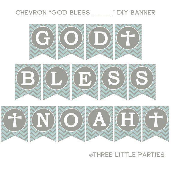 Printable Baptism Banner Chevron Banner Blue And Gray Or