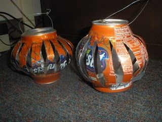 candle lanterns from soda pop cans