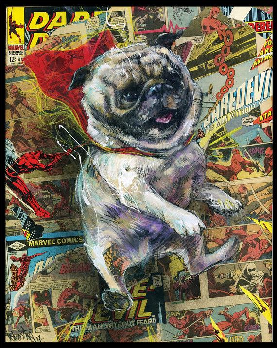 Pug Art Print - Dog Wall Art With Comic Book Collage -