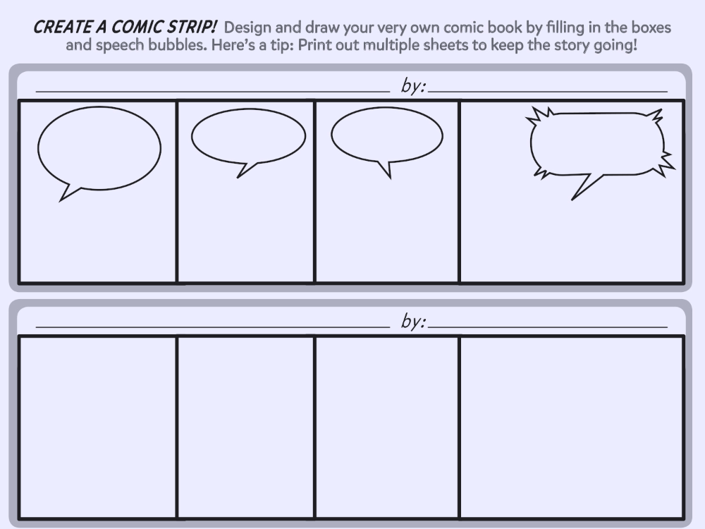 Printable Blank Comic Strip Template For Kids 1 In 2020 Comic