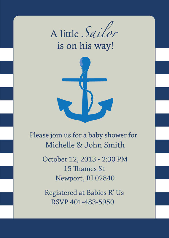 Little Sailor Anchor Nautical Baby Shower Baby