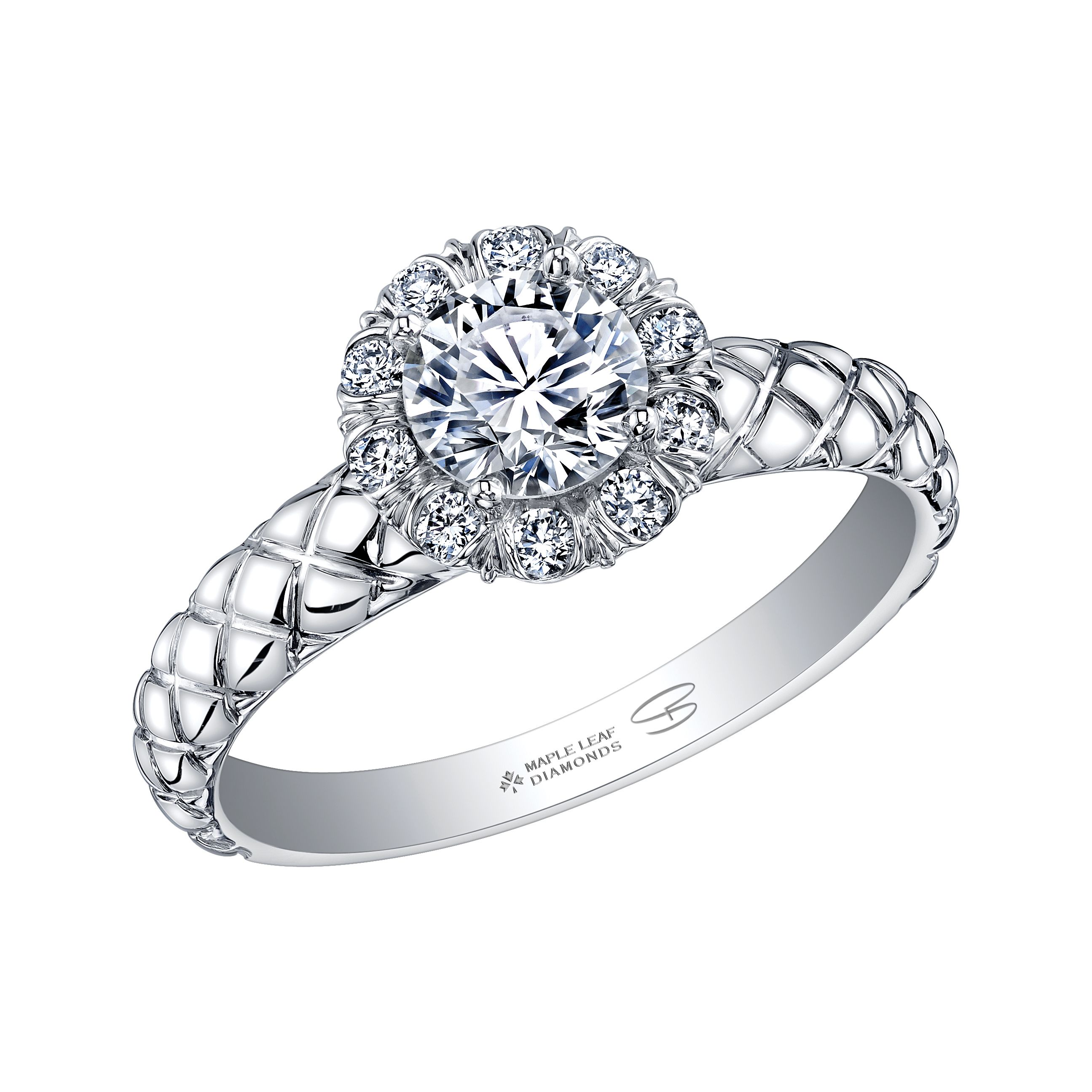 Canadian winter inspired diamond halo engagement ring with