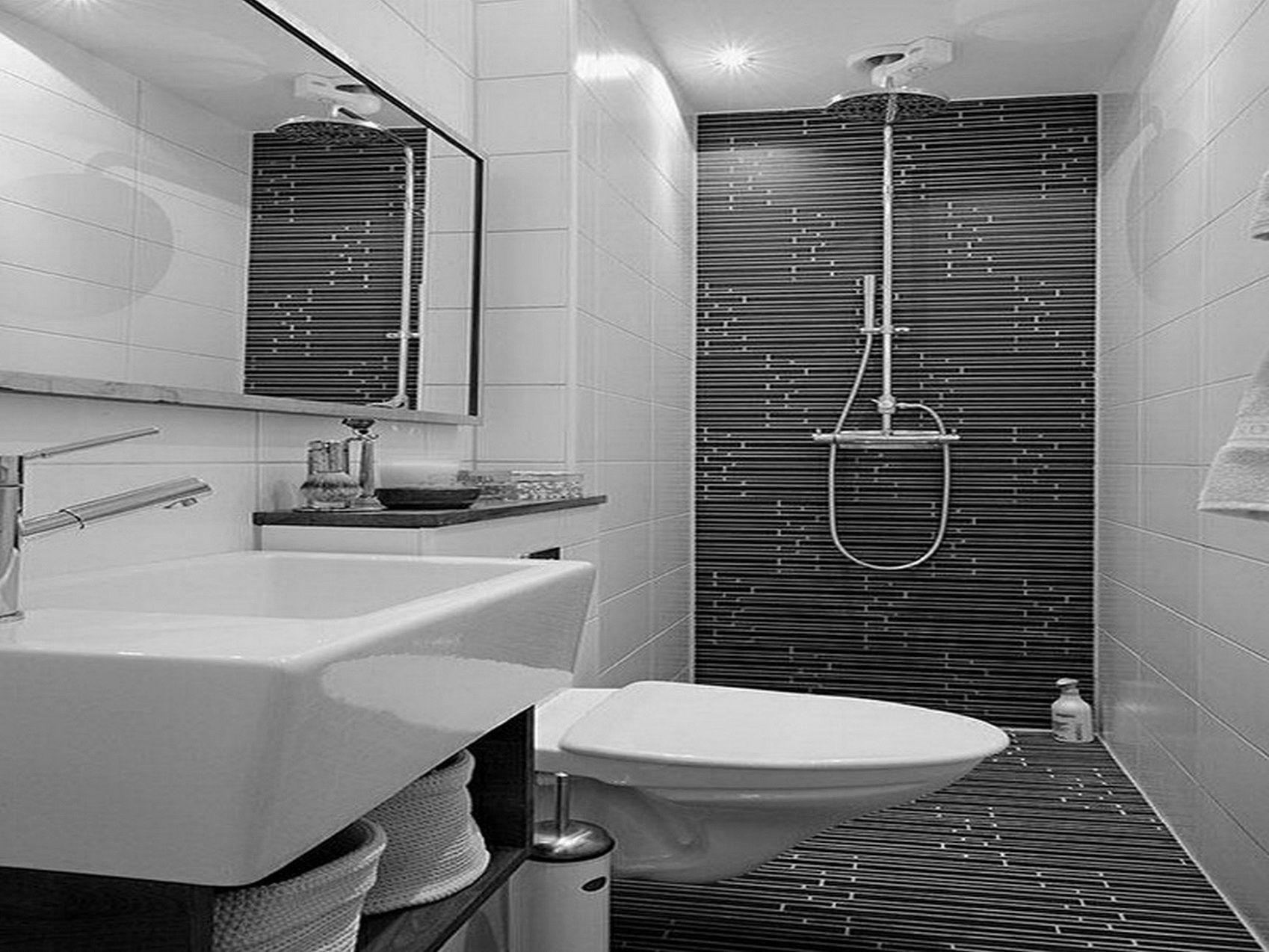 How to decorate a small bathroom in black and white - Black Tiles In Bathroom Ideas Nola Designs