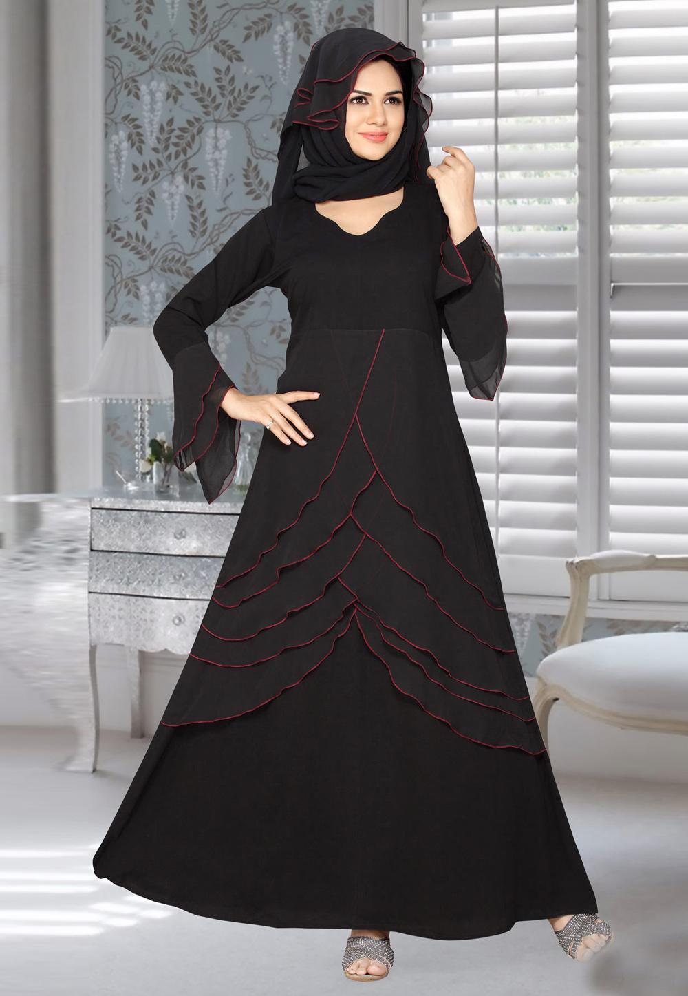 Black Lycra Readymade Layered Abaya 194585 Maxi Styles Womens Dresses Long Sleeve Print Dress