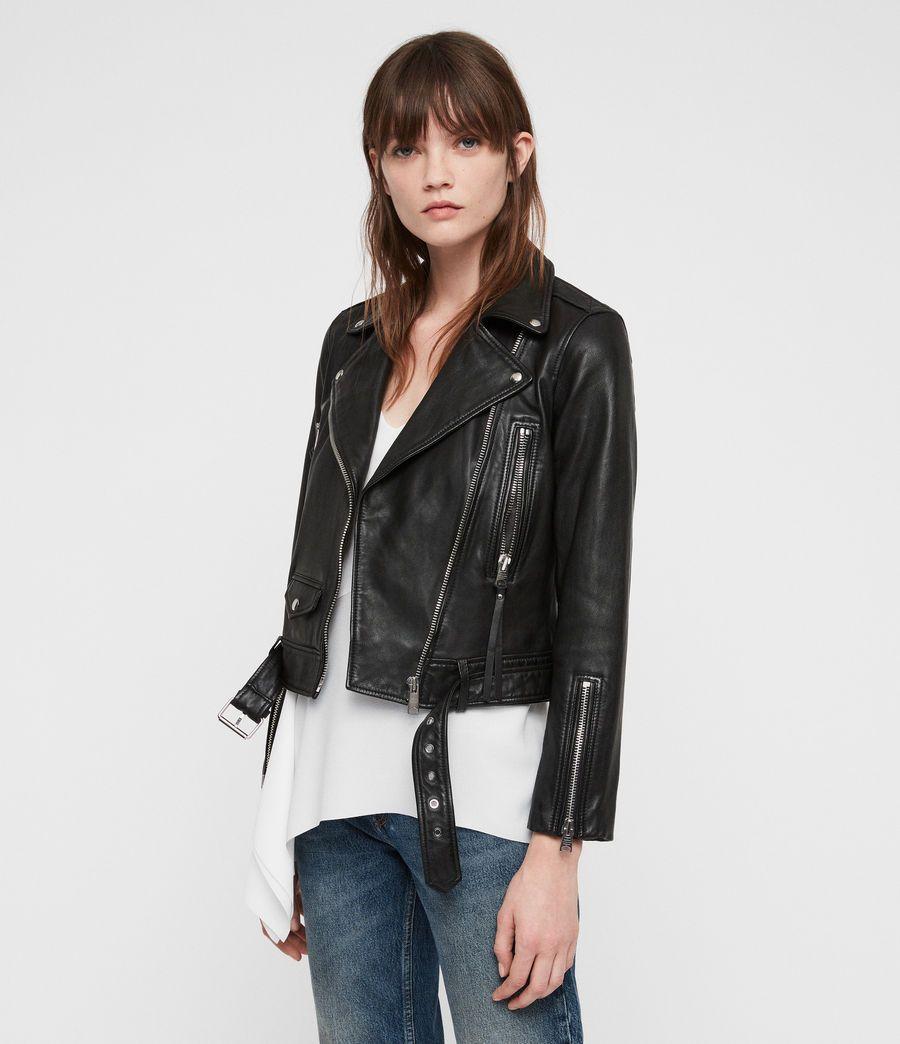 Allsaints Us Womens Juno Leather Biker Jacket Black Leather Jackets Women Jackets Fur Leather Jacket [ 1044 x 900 Pixel ]