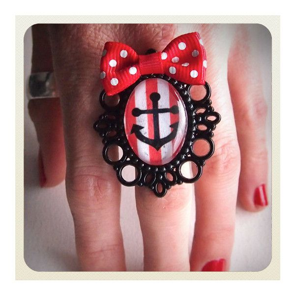 Large Old School Pin Up- Anchor ring with red bow and stripes ($16) ❤ liked on Polyvore