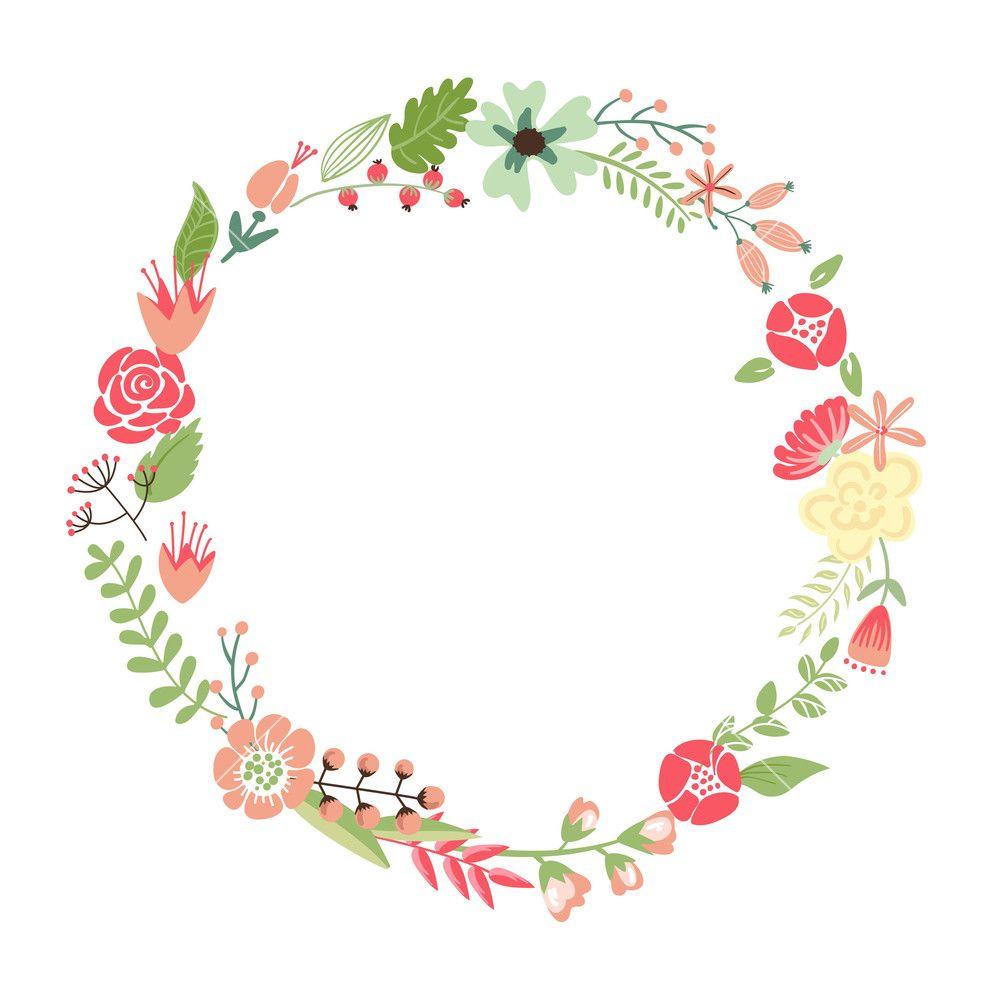 floral frame cute retro flowers arranged un a shape of