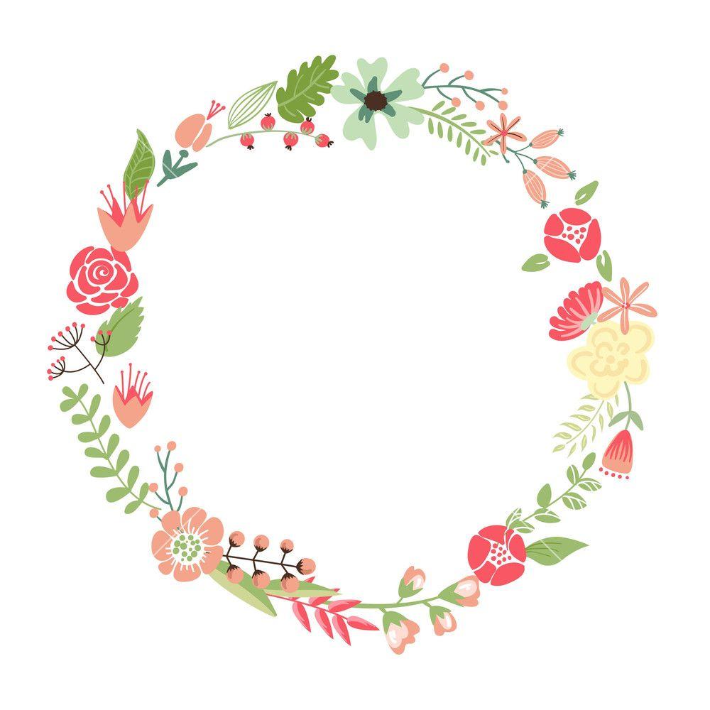 Floral Frame Cute Retro Flowers Arranged Un A Shape Of The Wreath Perfect For Wedding Invitations And Birthda Bingkai Bunga Kreatif Desain Undangan Perkawinan