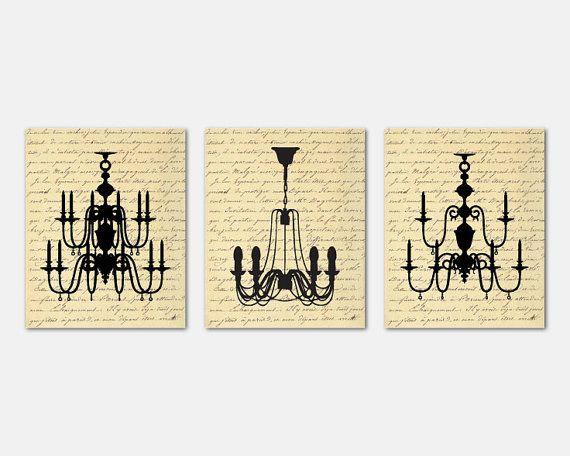 Wall Art Trio Set of Three Chandelier by SusanNewberryDesigns ...