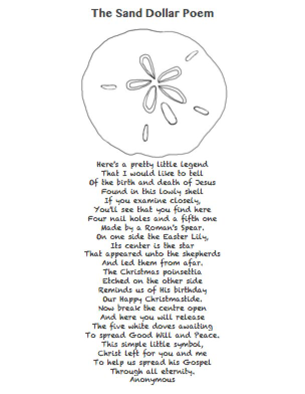 image about Legend of the Sand Dollar Poem Printable titled The Great Easter Desire  - The Sand