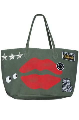 f7c8a858dfd Jackie Airbrush Mouth w/Patch Combo Tote Bag in Military - Lauren Moshi