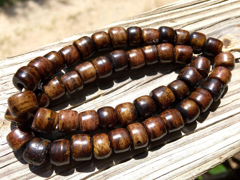 10mm Bone Crow Beads, Handcrafted Chocolate Walnut Umber Brown Color, Boho…