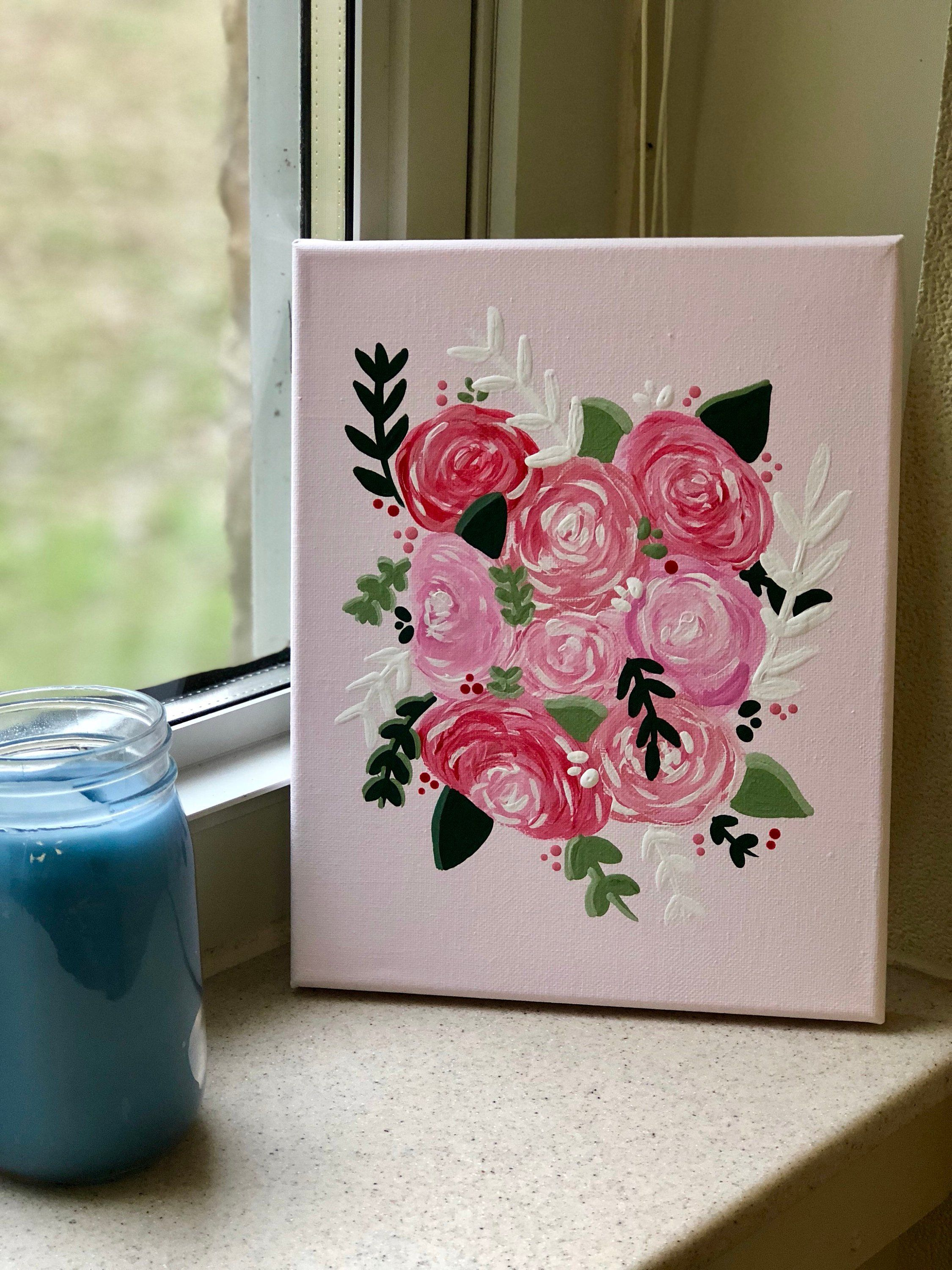 Pink Floral Canvas Customizable Floral Design Pink Etsy Flower Painting Canvas Mini Canvas Art Acrylic Painting Flowers