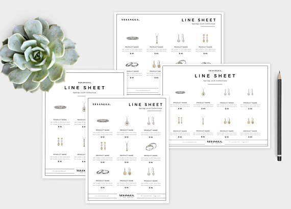 Minimalist Line Sheet Template, Wholesale Catalog, 4 Layouts - line sheet template download