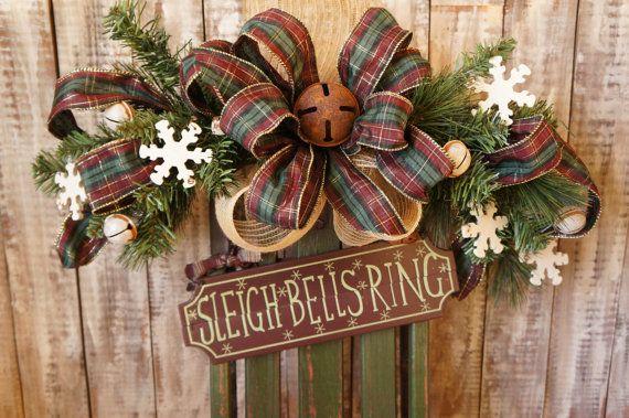 Sleigh Bells Christmas Wreath Wooden Sled Door Hanger Wooden Christmas Sleigh Door Wreaths Christmas Door Hanger Wooden Sleigh Decor Christmas Decorations