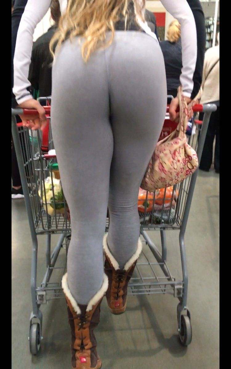 hot big sexy candid ass in grey yoga pants with furry boots – candid