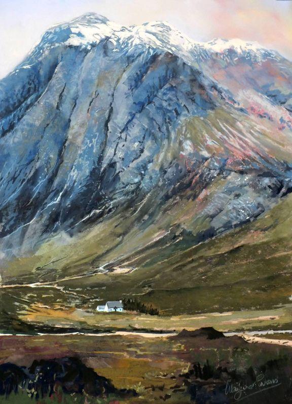 Margaret Evans Snow Caps Glencoe Traditional Art Prints Pastel Landscape Pastel Art