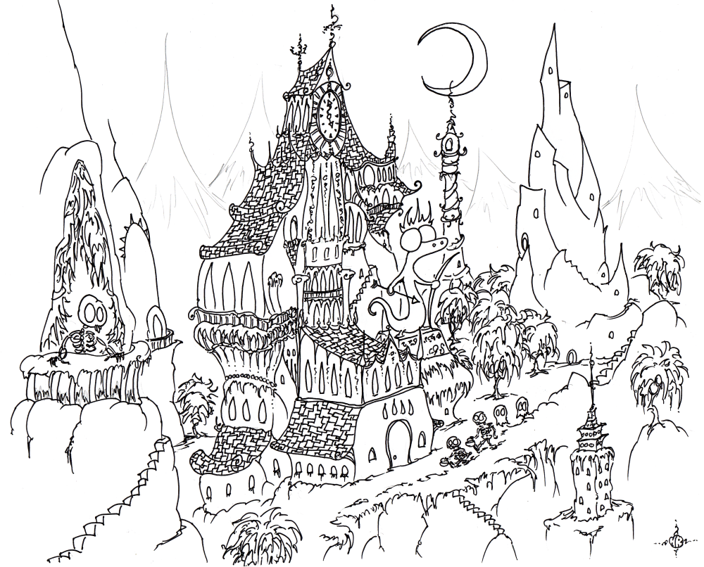 Free coloring pages for halloween - A Free Coloring Page Of A Haunted Halloween Mansion In A Weird Haunted City With Skeletons And Ghosts And Skeletons Trick Or Treating