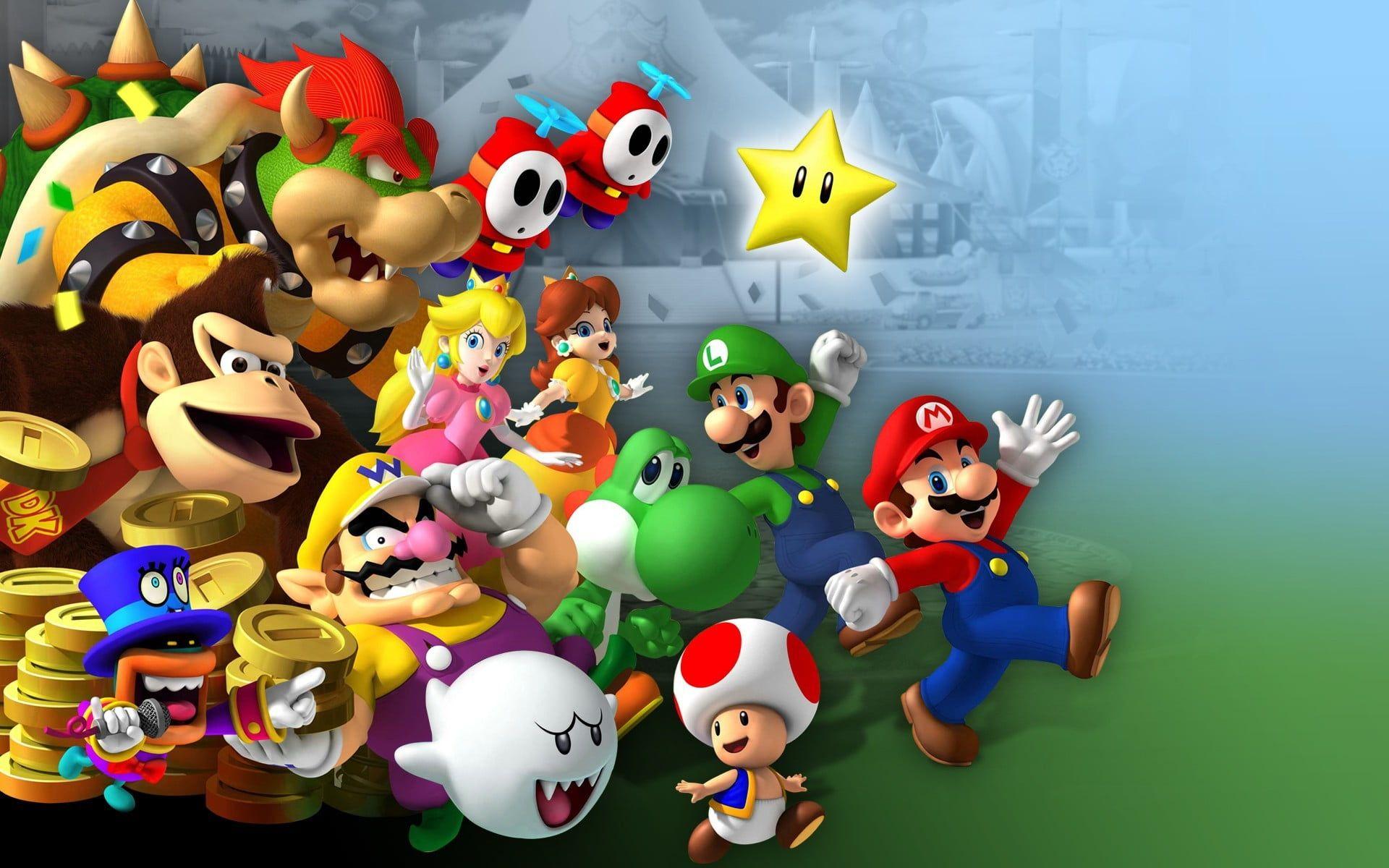 Super Mario Characters Illustration Mario Bros Luigi Princess Peach Yoshi Wario Donkey Kong Toad Character Video Game Mario E Luigi Mario Parque Tematico