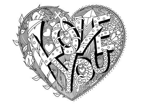 ausmalbild valentines i love you bold  ausmalbilder