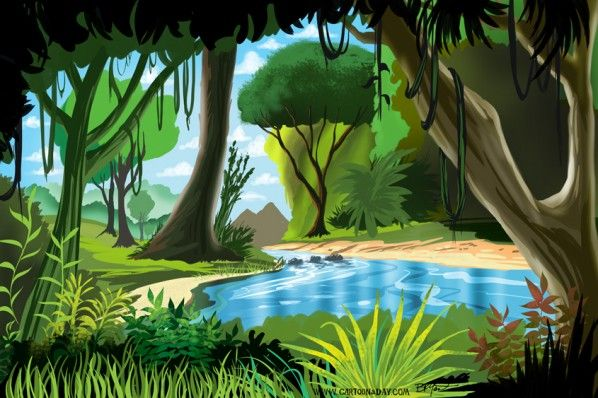 Cartoon rainforest scenery cartoons wallpaper xpx for Home wallpaper jungle