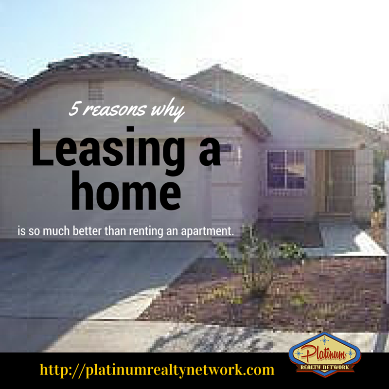 """Are you looking for a place to call home? Why not make it a home? People don't look for a place to call """"apartment"""". Here are 5 reasons why leasing a home is so much better than renting an apartment. #leasinghome #rental #apartment #PlatRealNet"""