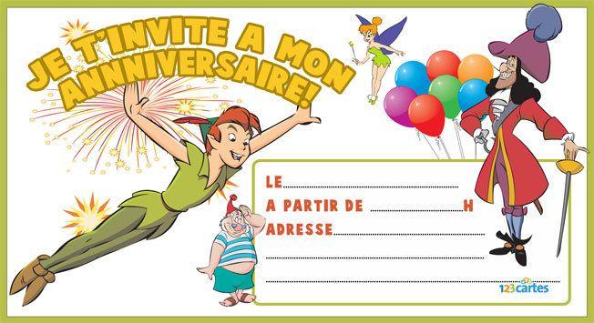Invitation Anniversaire Peter Pan 123 Cartes Invitation Anniversaire Image Anniversaire Anniversaire