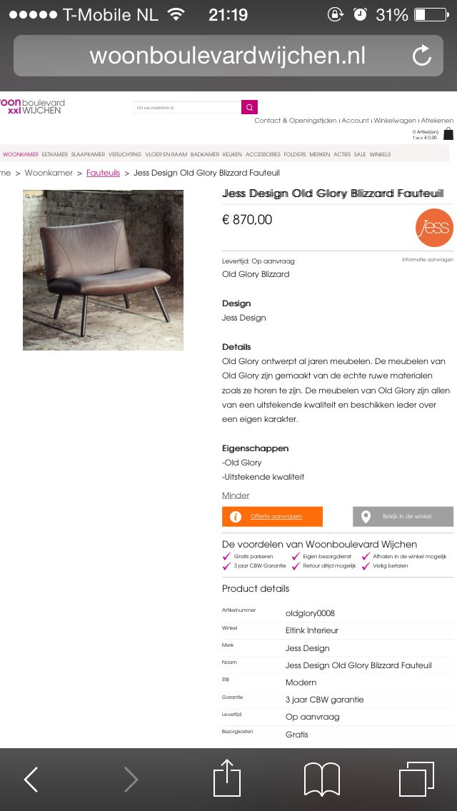 Jess Design Old Glory Blizzard fauteuil (eltink interieur wijchen ...