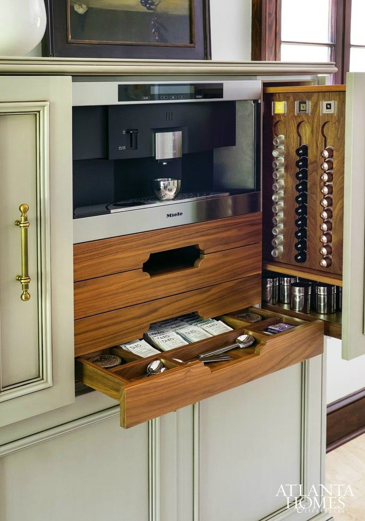 Built In Coffee Station   Transitional   Kitchen   Atlanta Homes U0026  Lifestyles