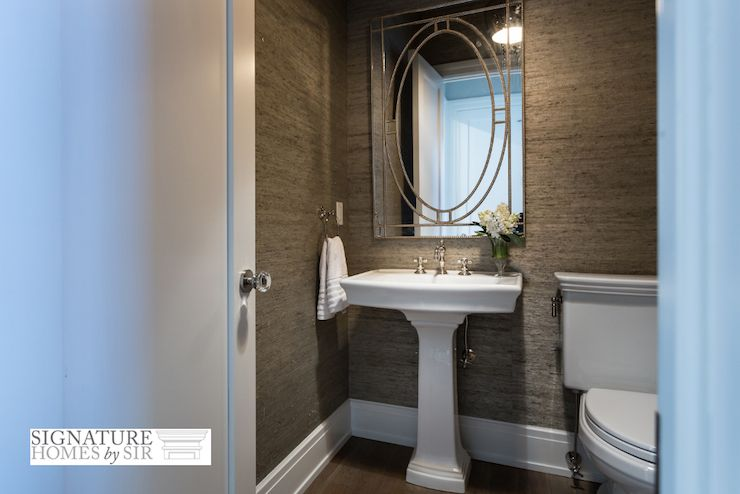 Chic Powder Room Features Gray Grasscloth Wallpapered