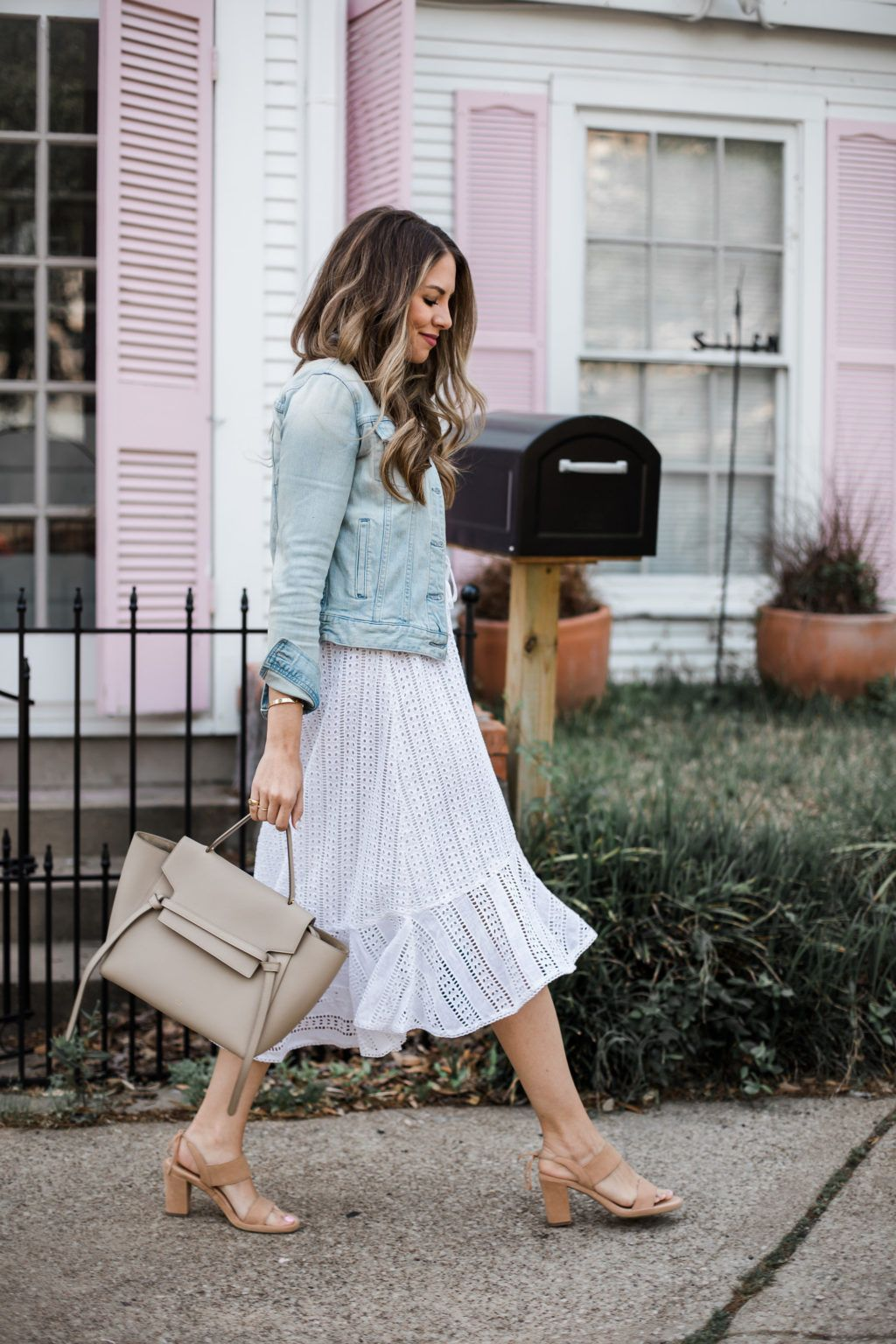 5ef2398675a My Favorite Spring Combo  A White Eyelet Dress with Denim Jacket