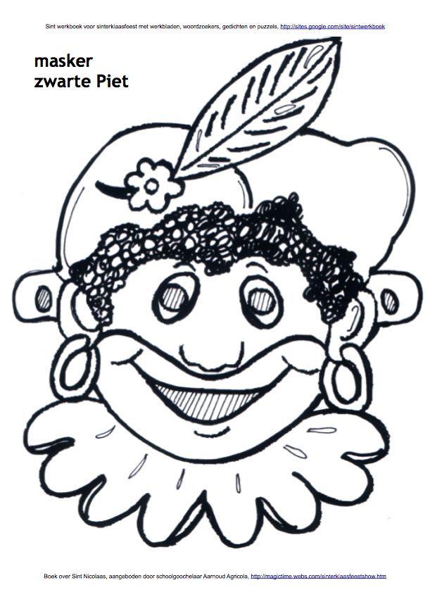 Kleurplaten Over Sinterklaas.Masker Van Zwarte Piet Kleurplaat Sint Werkboek Werkbladen