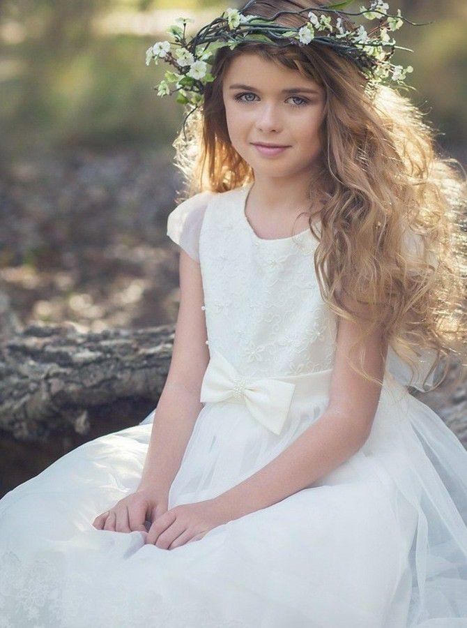A-Linie Rundhals Weiß Tüll Blumenmädchenkleid mit Spitze ...
