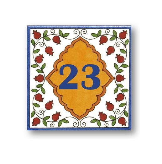 Address Numbers House Number Pomegranate by Paintingontiles, $47.00