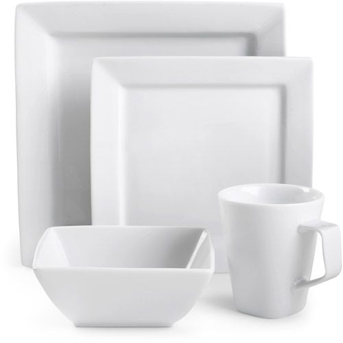 Square Dinnerware Canopy Square White Porcelain 16 Piece