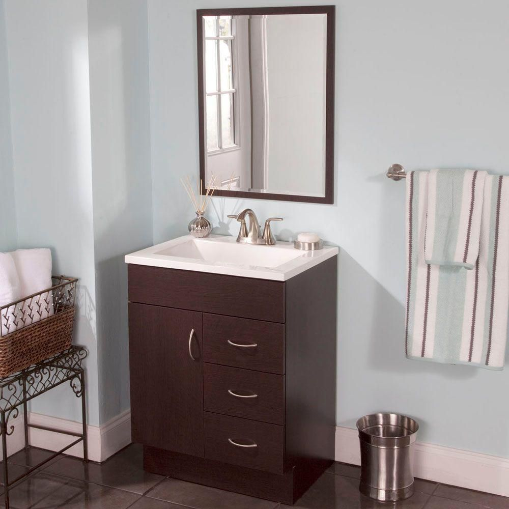 WoodCrafters Vanguard 24 In. Vanity In Ebony With Cultured Marble
