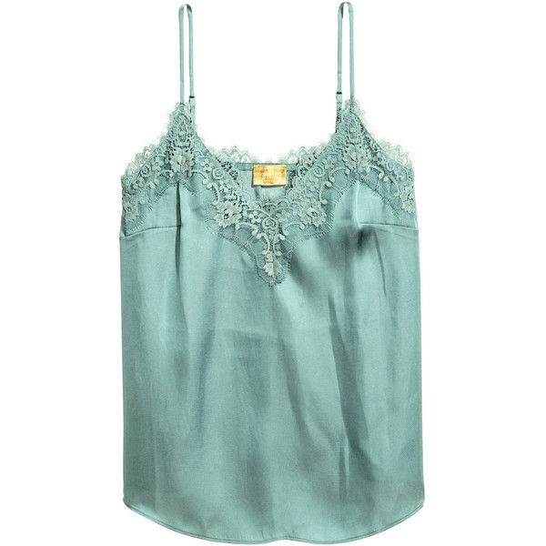 Satin Camisole Top with Lace $29.99 (681.195 VND) ❤ liked on Polyvore  featuring h&m, tops, lacy cami, green camisole, satin camisole, lace trim  cami and ...