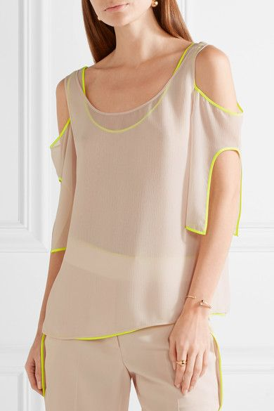 Aaa Quality For Sale Cheap Price From China Jason Wu Woman Cold-shoulder Silk Satin-trimmed Georgette Top Pastel Pink Size 6 Jason Wu Cheapest For Sale For Cheap cfRD8k
